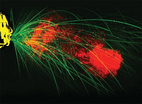 عطسة ملتقَطة باستخدام كاميرا فيديو عالية السرعة. بعد العطس، تخرج قطرات كبيرة مكونة من اللعاب والمخاط من الفم (اللون الأخضر)، لكنها تسقط بشكل سريع نسبيًا. وتحمل السحابة المضطربة قطرات أصغر حجمًا (اللون الأحمر)، تسمح لها بالانتقال إلى مسافة تصل إلى 8 أمتار.